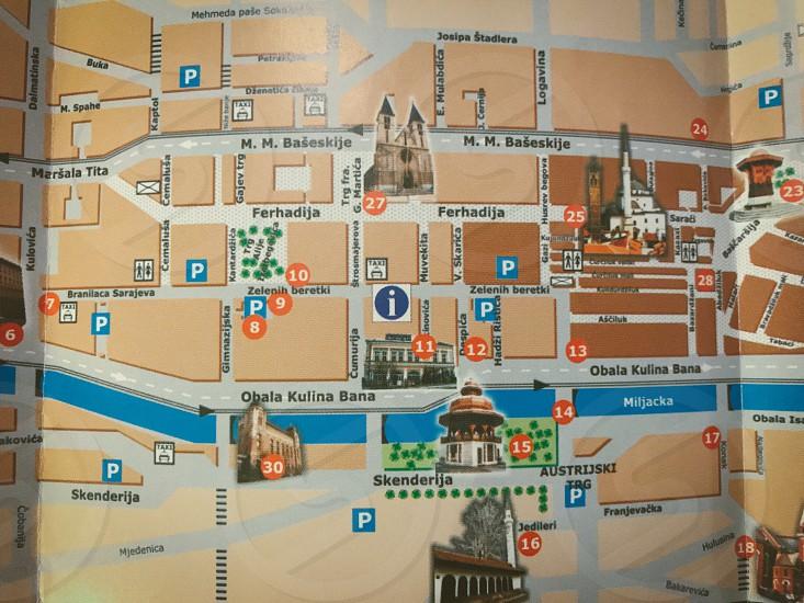 Map Sarajevo  Bosnian  Bosnia closeup  photo
