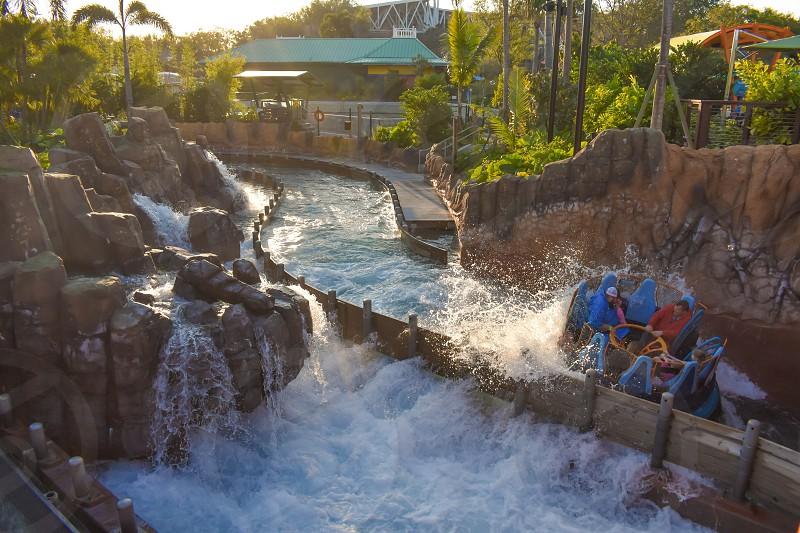 Orlando Florida. January 19 2019.  People enjoying river attraction ride Infinity Falls at Seaworld Marine Theme Park (2) photo