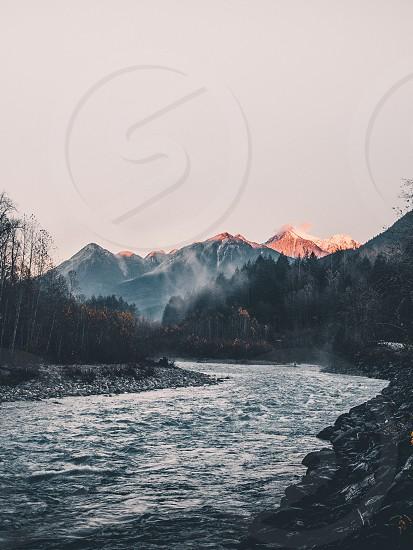 Mountains British Columbia River hike sunset husk Rapids fog  photo