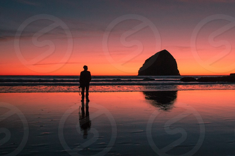 man in seashore silhouette photo