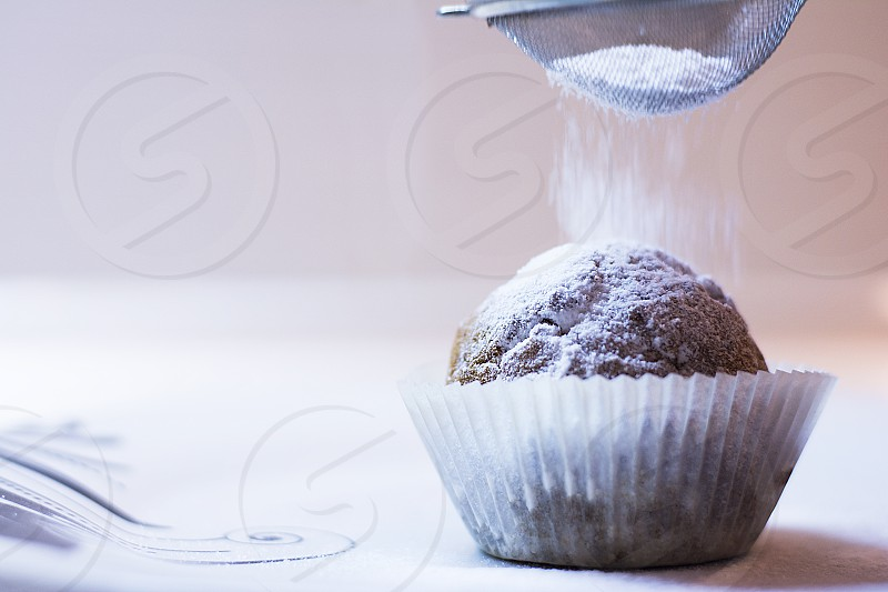 Muffin spread with sugar photo