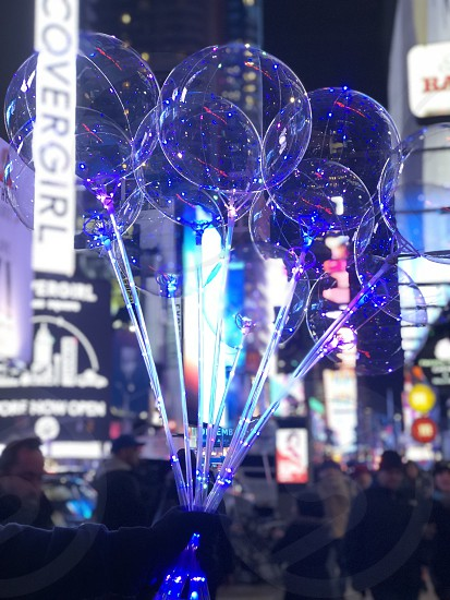 Bubbles at night in New York City photo