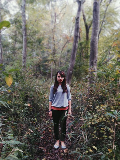 women's gray long sleeved shirt photo