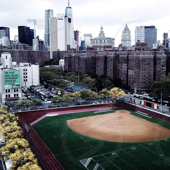 baseball field beside soccer field and football field photo
