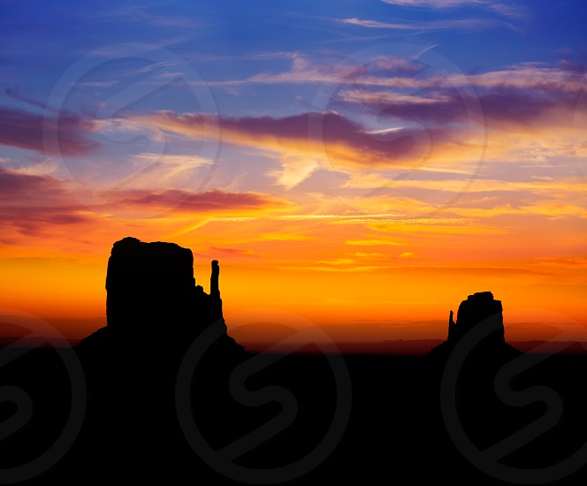 Sunrise at Monument Valley West and East Mittens Butte Utah National Park photo