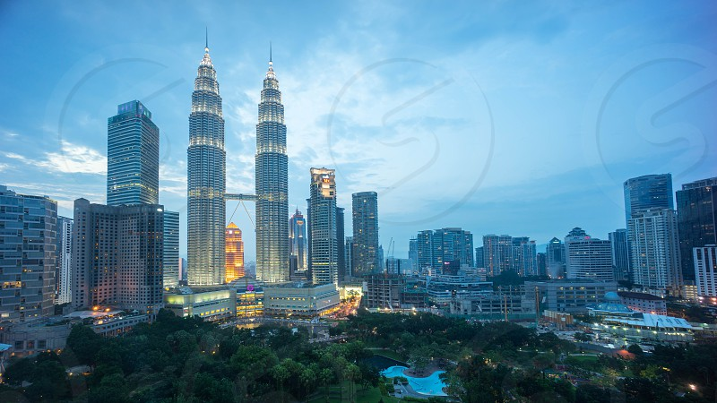 Kuala Lumpur City during blue hour view from traders hotel photo