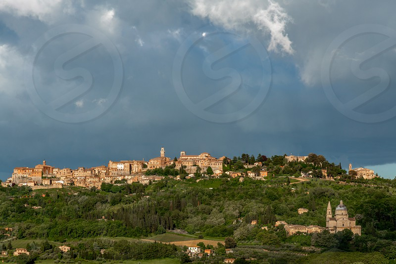 View of Montepulciano and San Biagio under Stormy Conditions photo
