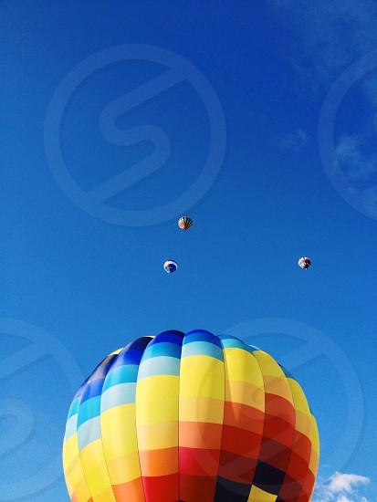 rainbow stripe hot air balloon photo