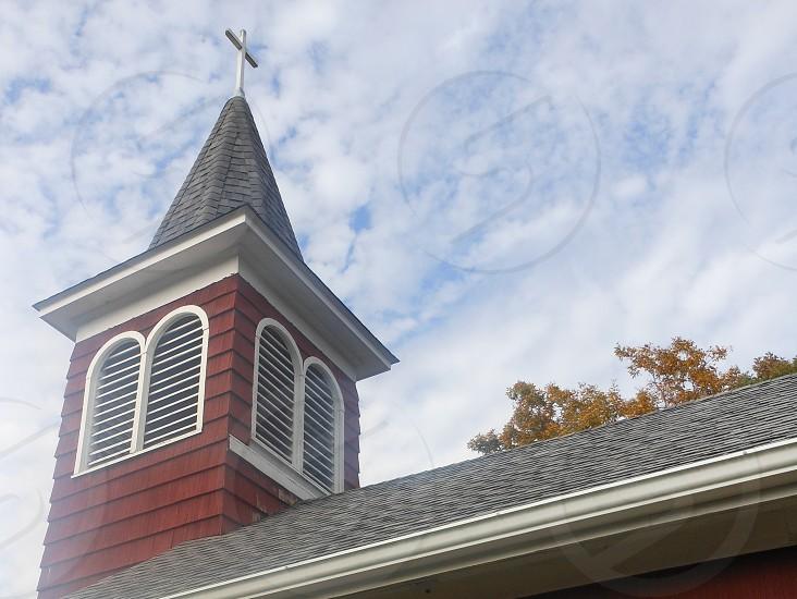 little red church steeple sky clouds heavenly Christian Faith Inspirational photo