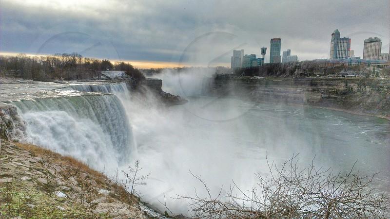 Niagara Falls New York NY United States Waterfall Water Sky Clouds photo