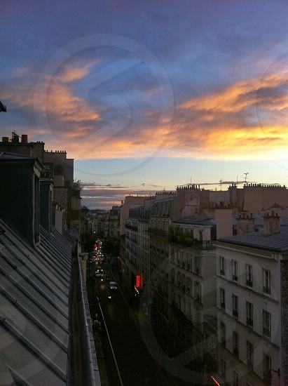 Paris sunset skyline view rooftop  photo