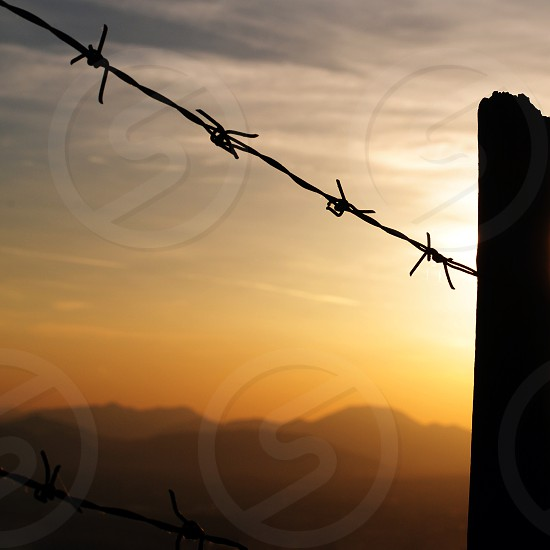 barbed wire fence sunset photo photo