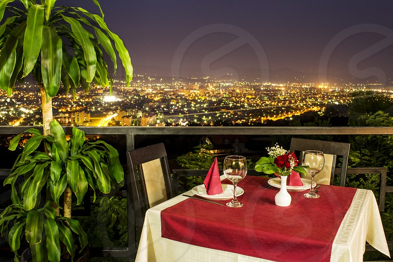 Romantic dinner view restaurant photo