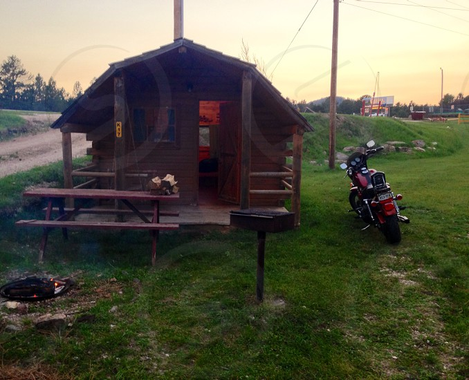 Camping cabin in Custer Sd. Road trip on a Harley Davidson to Mt. Rushmore. photo
