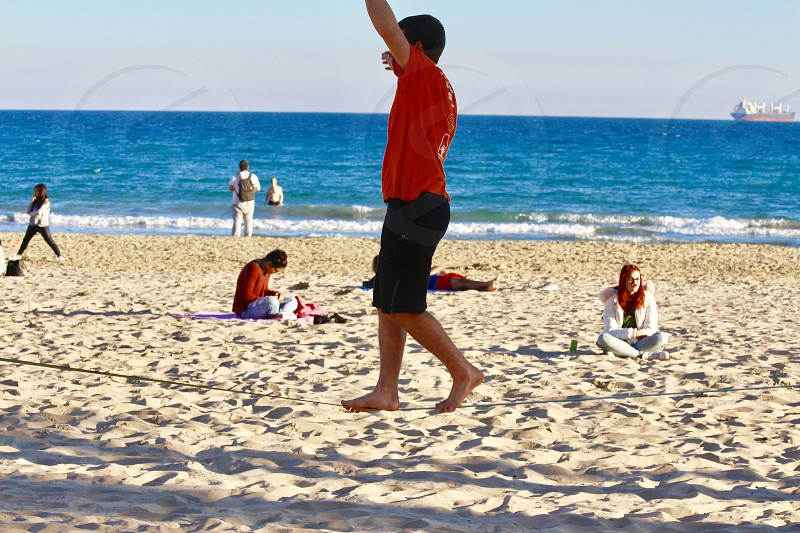 Activity on the beach in winter time Alicante photo