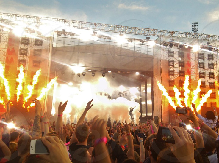 concert stage with pyrotechnics photo