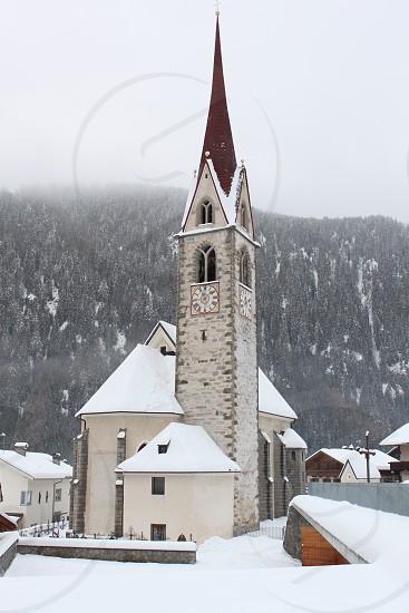 Church in a winter landscape photo