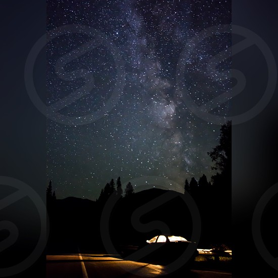 Stars star starry starry night Milky Way Galaxy space Sky light dark shadows contrast silhouette car road trip long exposure clear trees road vacation camp camping adventure photo