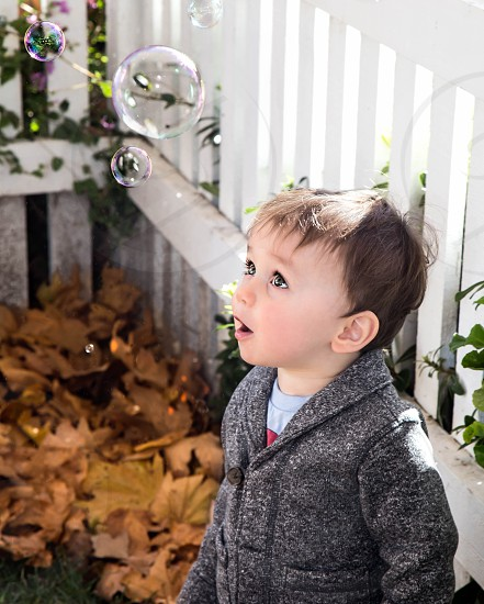 Little boy looking at bubbles near pile of fall leaves. photo
