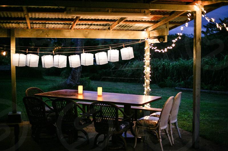 Backyard Birthday.  Lights party birthday decorations objects long exposure  photo