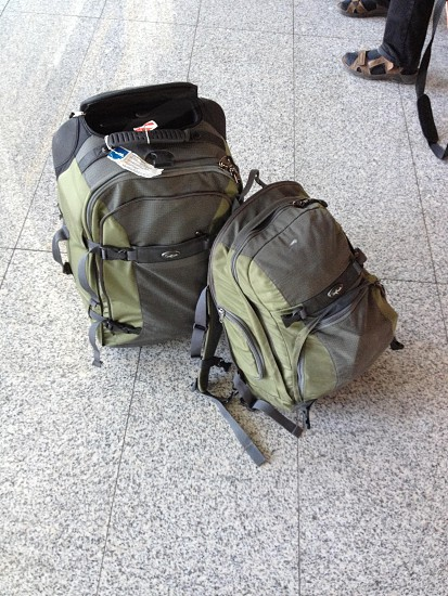 green and gray backpack photo