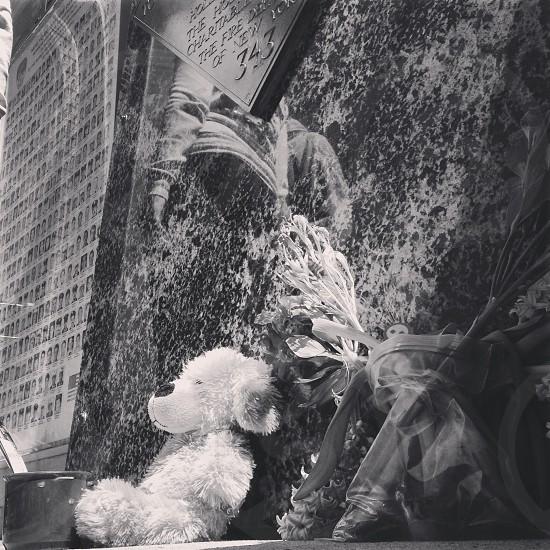 Memorial 9/11 sept 11 teddy bear bnw b&w photo