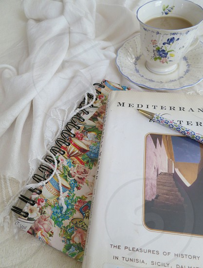 Comfort teacup book notebook diary travel history wanderlust daydreams memories far places Mediterranean photo