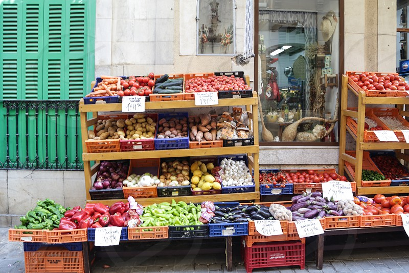 Storefront store food vegetables  outdoors display  street photo