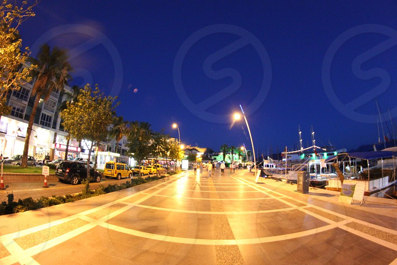 Quay of the Turkish resort town of Marmaris at night. photo