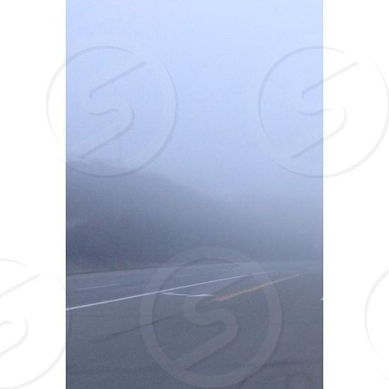 grey highway on a foggy day photo