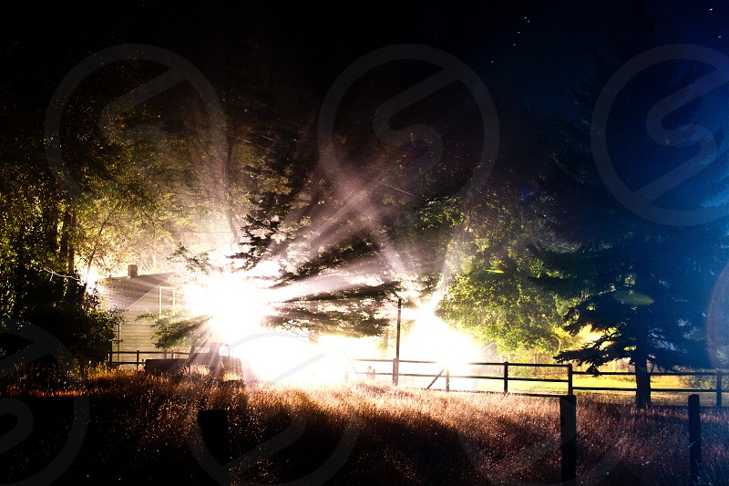 Light house fog rays beams farm woods grass country forest mysterious dark night photo