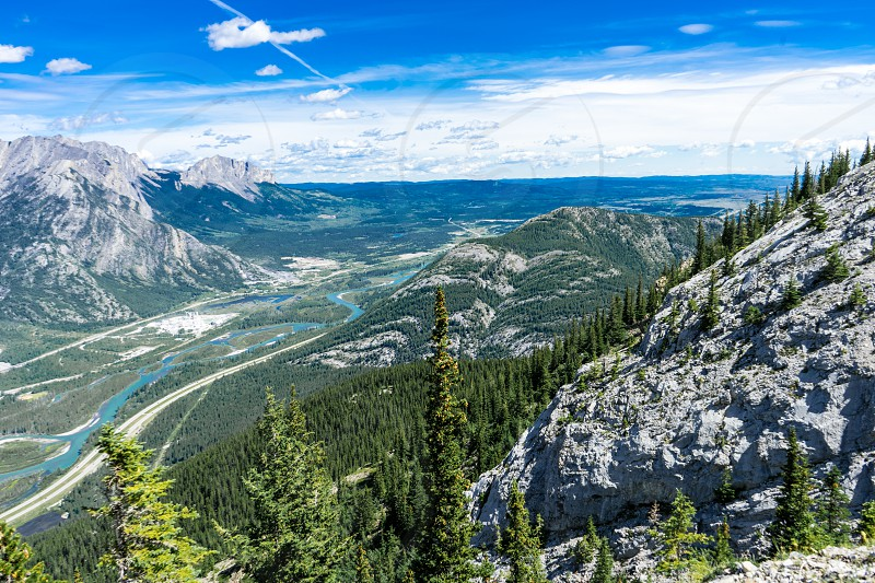 Heart Mountain (Rocky Mountains) near the summit view point that overlooks the foothills in Southern Alberta. photo
