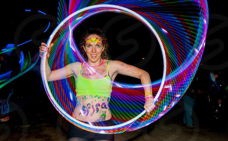 Light painting hula hoop colors  photo