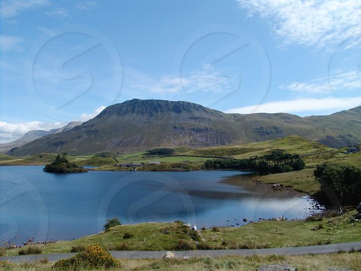 Wales • mountains • Welsh lake • road  photo