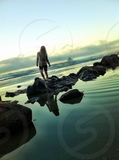 Morning stroll on the Oregon Coast. photo