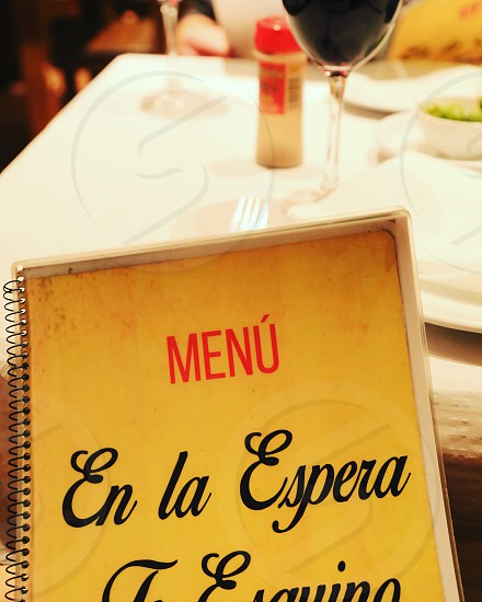 Menu food spain spanish restaurant Europe photo