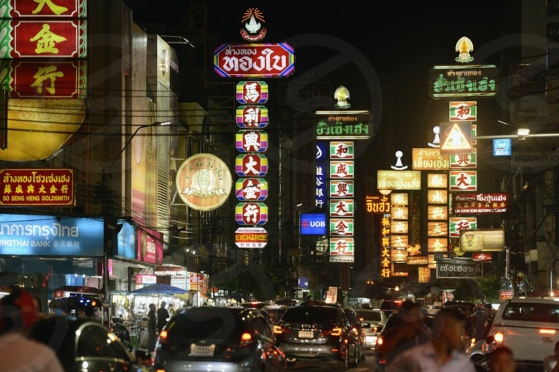 the charoen krung road in the china town the city of Bangkok in Thailand in Southeastasia. photo