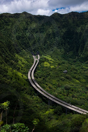 The H3 highway from the epic haiku steps in Oahu. photo