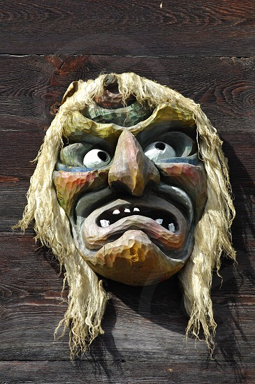 Traditional Swiss wooden mask photo
