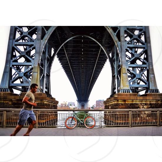 Bridge jog run running runner exercise NY NYC manhattan new York  photo