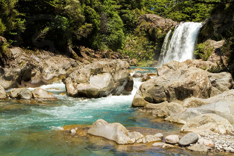 A waterfall in the Tongariro National Park.  North Island New Zealand photo
