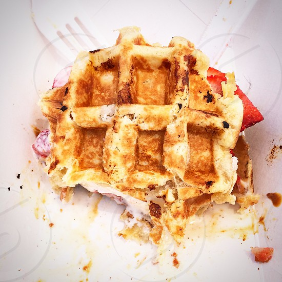 Food waffles Belgian dessert photo