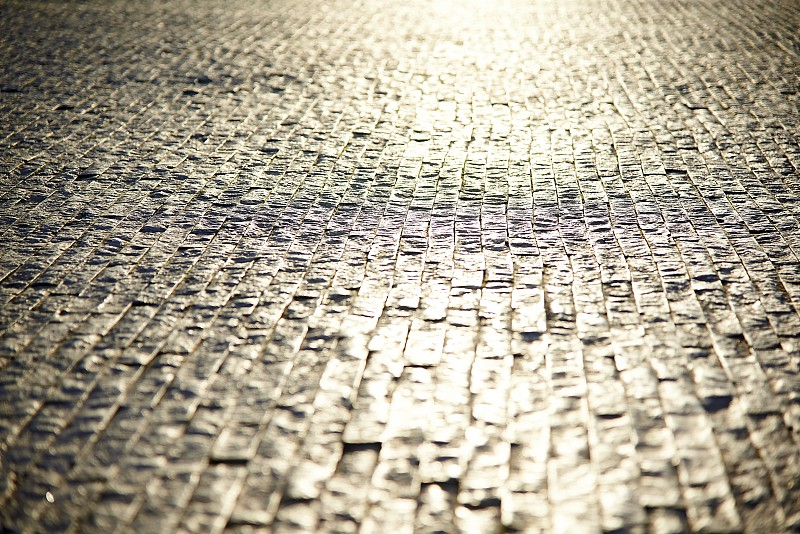 Close up of a vintage cobble stoned street in the centre of Dordrecht in the Netherlands photo