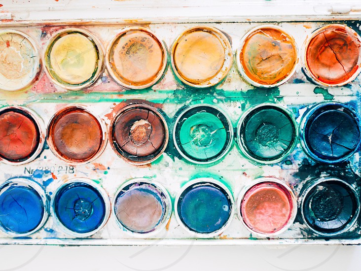 Circles colors art watercolors coloring top perspective  top view close up creative  creativity photo