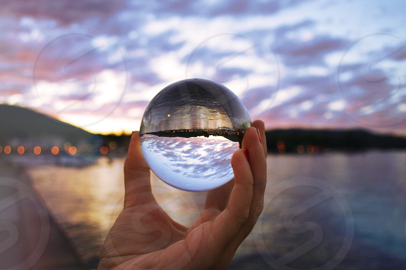 this crystal ball is a go-to item if your looking for a different angle on your objects. This is the Lake George 'harbor' in New York.  photo