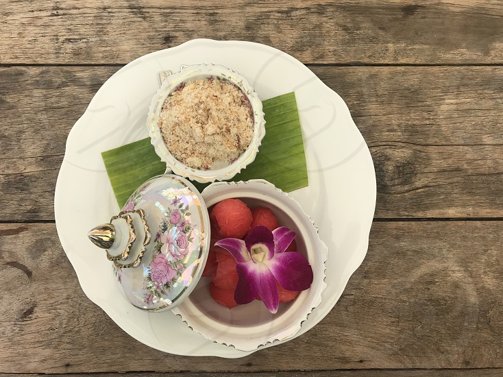 Thai food fried dried fishwatermelonThai styleThai vintage foodfoodfreshsweet  photo
