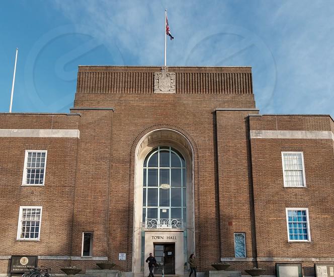 TUNBRIDGE WELLS KENT/UK - JANUARY 4 : View of the Town Hall in Royal Tunbridge Wells Kent on January 4 2019. Two unidentified people photo