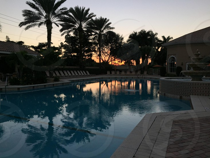 Sunset reflections by the pool photo