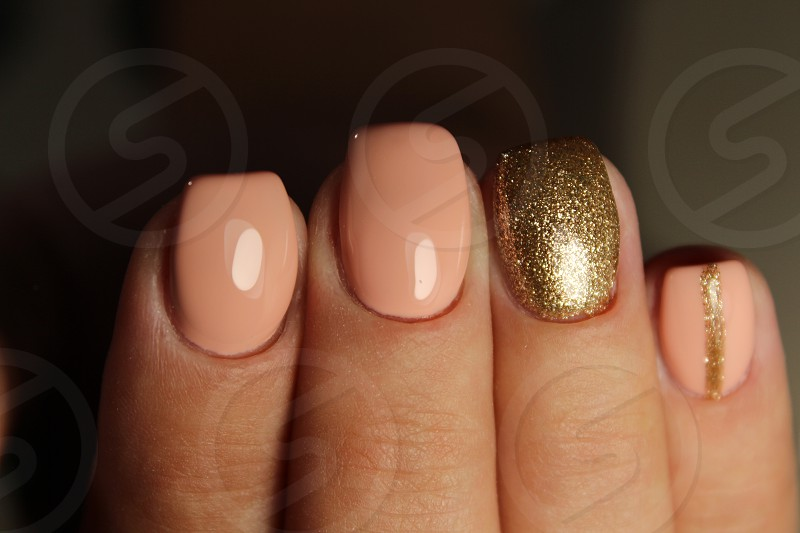 Youth manicure design color coffee with gold photo