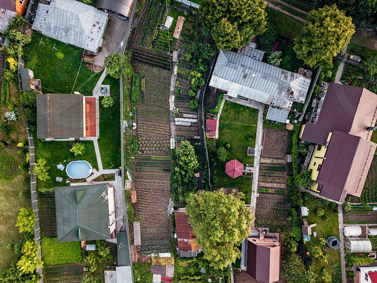 The village is in an ecologically clean green place. Aerial bird eye view directly above photo